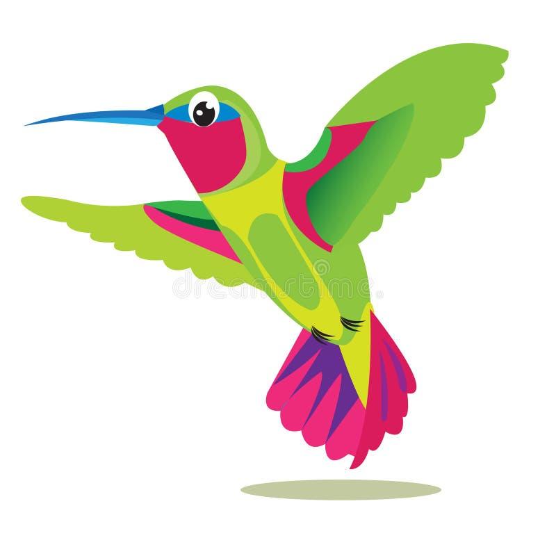 Pássaro de Colibri Pássaro colorido pequeno em um fundo branco Retrato do vetor Imagem do pássaro do colibri ilustração do vetor