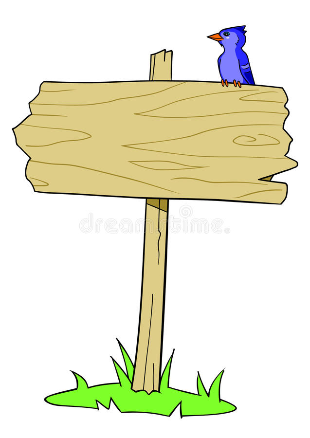 Pássaro de madeira do sinal ilustração do vetor