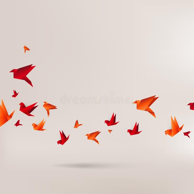 Pássaro de papel do origâmi no fundo abstrato ilustração royalty free