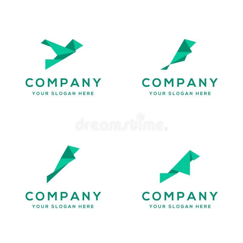 Pássaro de papel Logo Collection do origâmi imagem de stock