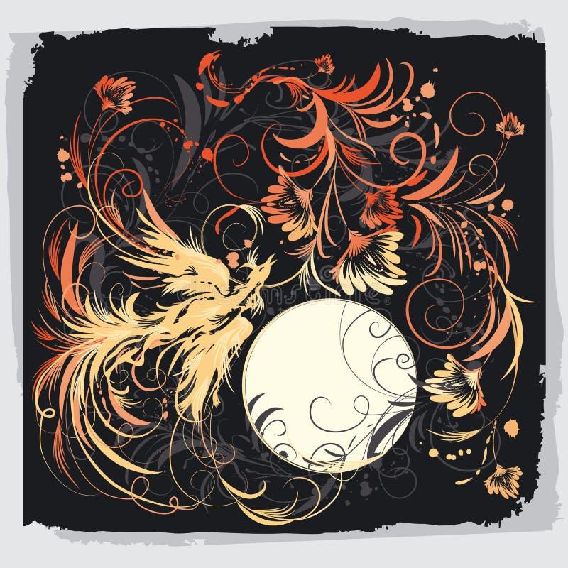 Pássaro de Phoenix com flores ilustração royalty free