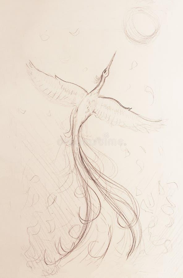 Pássaro de phoenix da insurreição que voa acima, tirando no fundo do Livro Branco ilustração royalty free
