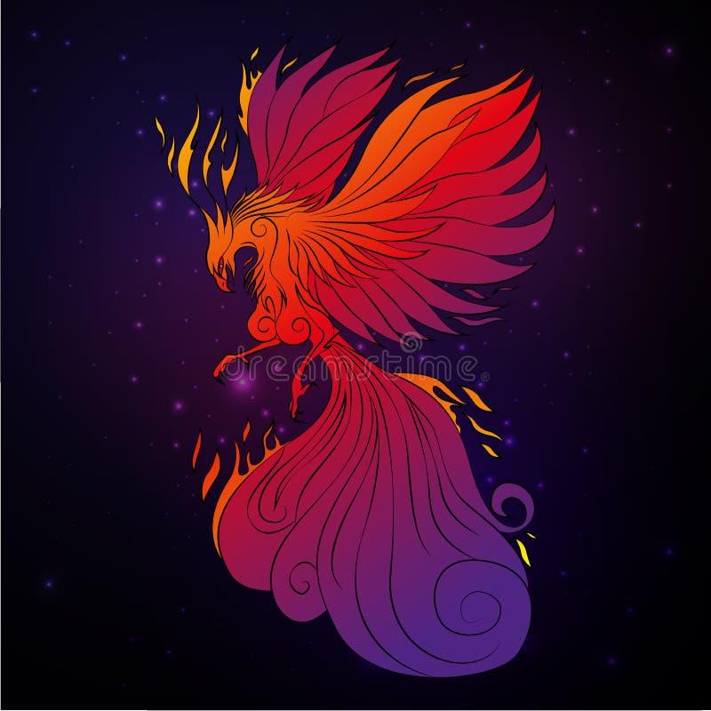 Pássaro de Phoenix, pássaro legendário que é ciclicamente renascido ilustração royalty free