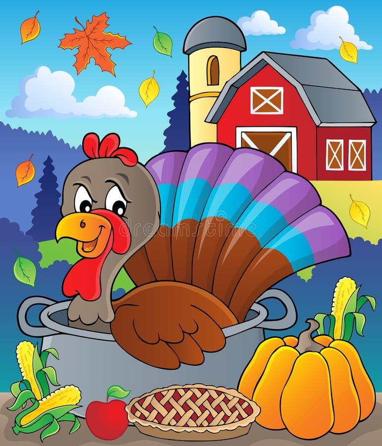 Pássaro de Turquia na imagem 2 do tema da bandeja ilustração stock