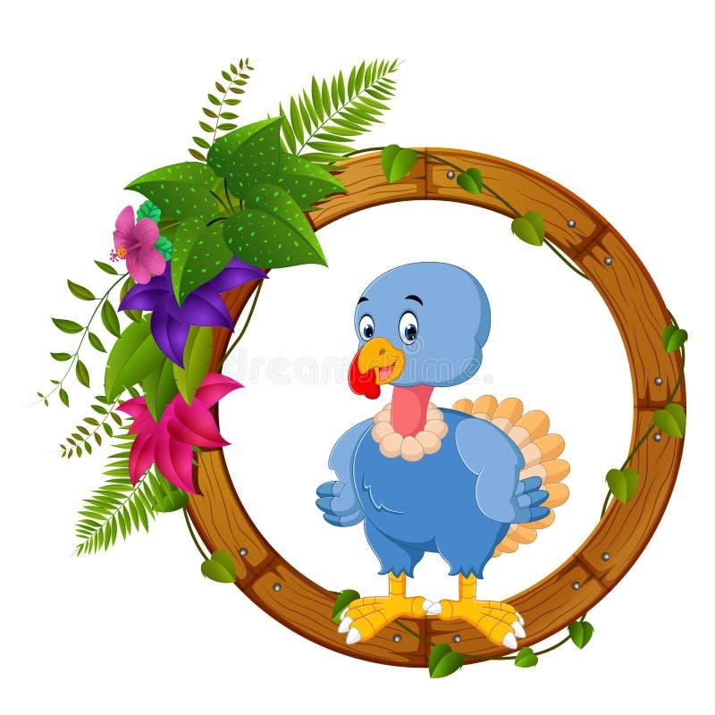 Pássaro de Turquia no quadro da madeira redonda ilustração stock