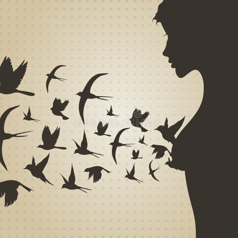 Pássaro de um peito ilustração stock