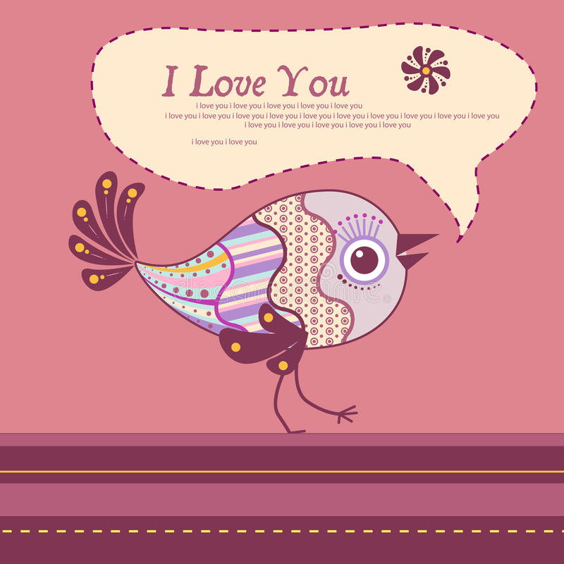 Pássaro decorativo. Cartão do Valentim ilustração royalty free