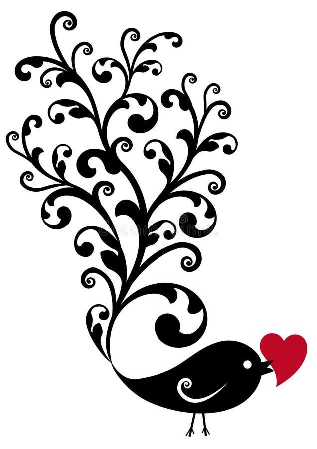 Pássaro decorativo com coração vermelho ilustração stock