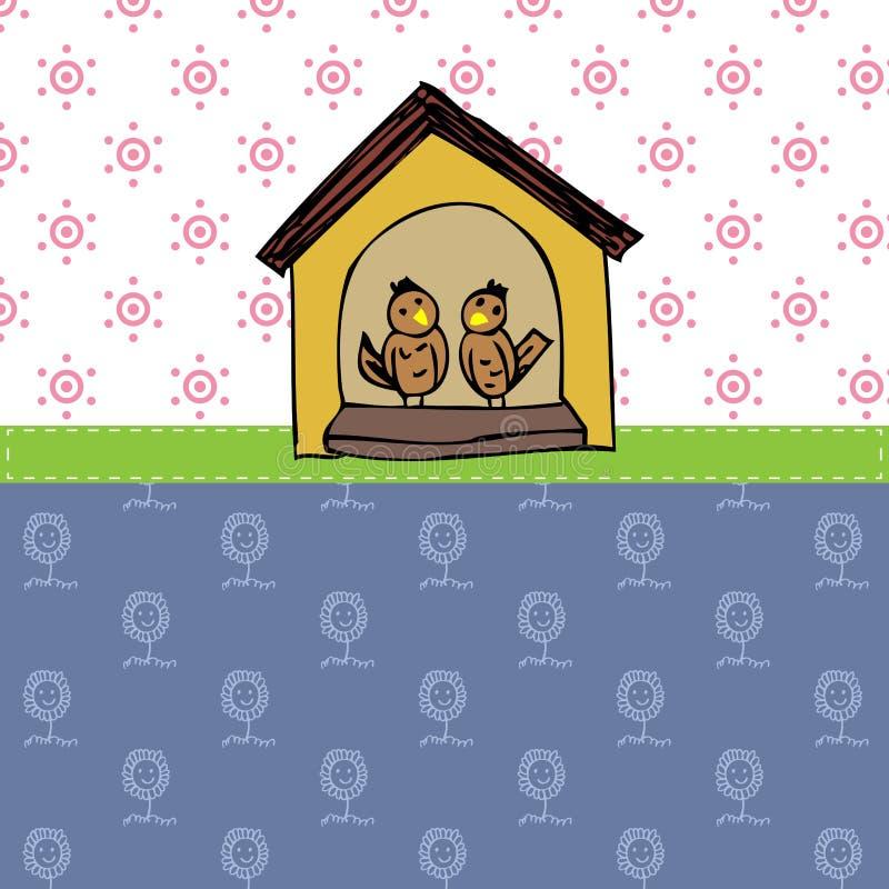 Pássaro do amor no fundo do vetor da casa ilustração stock