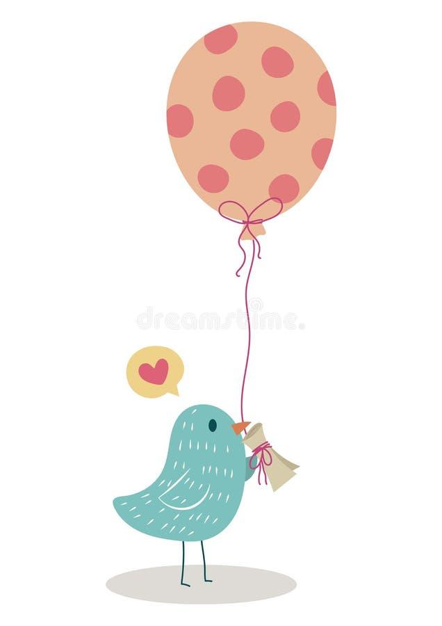 Pássaro do amor que envia a carta de amor ilustração stock
