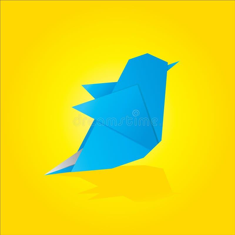 Pássaro do azul do origami do vetor ilustração royalty free