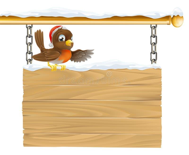 Pássaro do chapéu de Santa do Natal no sinal ilustração do vetor