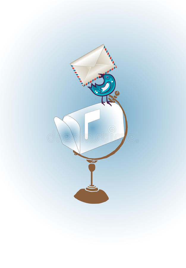 Pássaro do correio ilustração royalty free