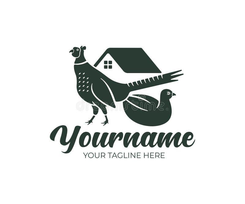 Pássaro do faisão, homem e fêmea, exploração agrícola do faisão, projeto do logotipo Construção de exploração agrícola e jarda da ilustração do vetor