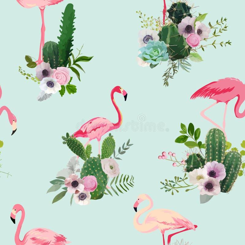 Pássaro do flamingo e fundo tropical das flores do cacto Teste padrão sem emenda retro ilustração royalty free