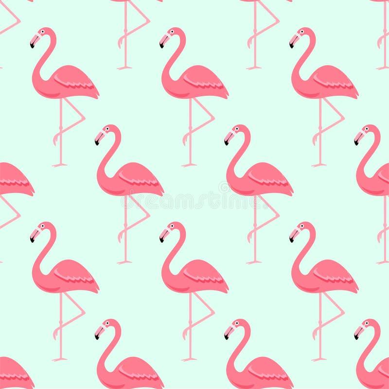 Pássaro do flamingo e fundo tropical das flores - teste padrão sem emenda retro ilustração stock