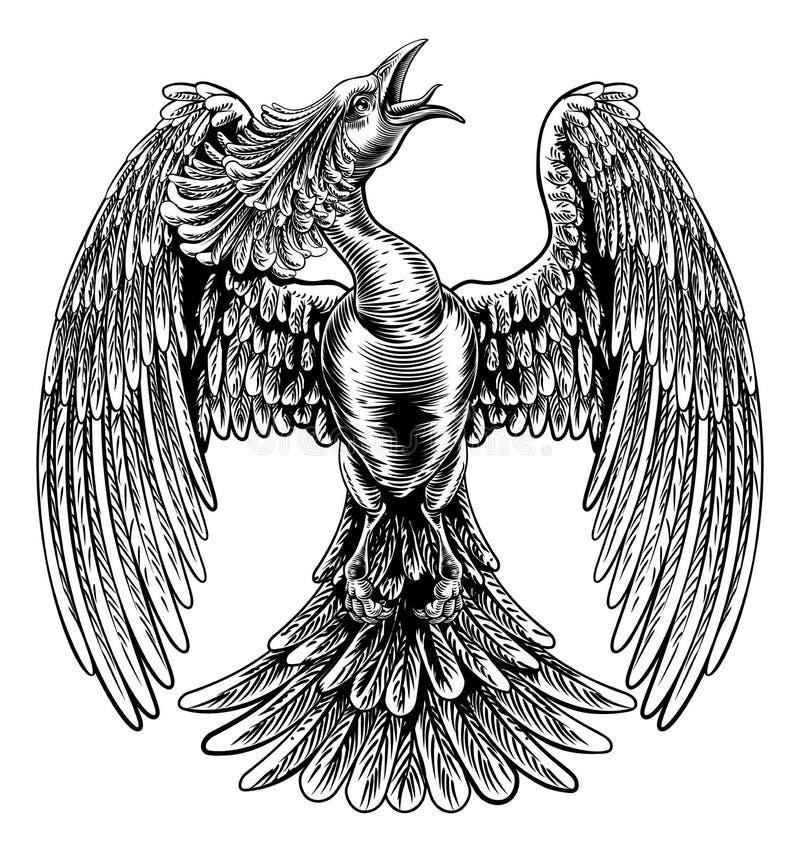 Pássaro do fogo de Phoenix no estilo do bloco xilográfico do vintage ilustração royalty free