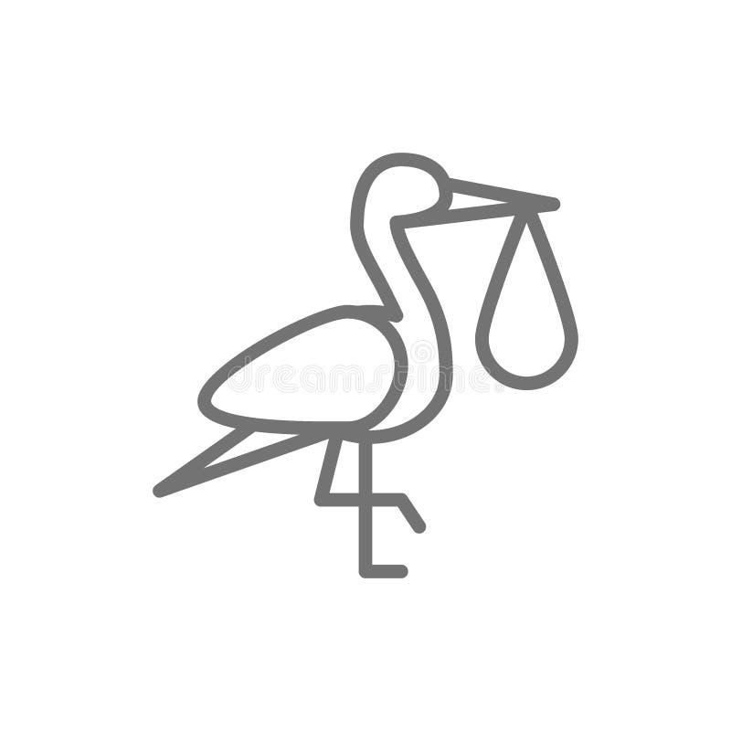 Pássaro do guindaste com saco do bebê, linha ícone da cegonha ilustração do vetor