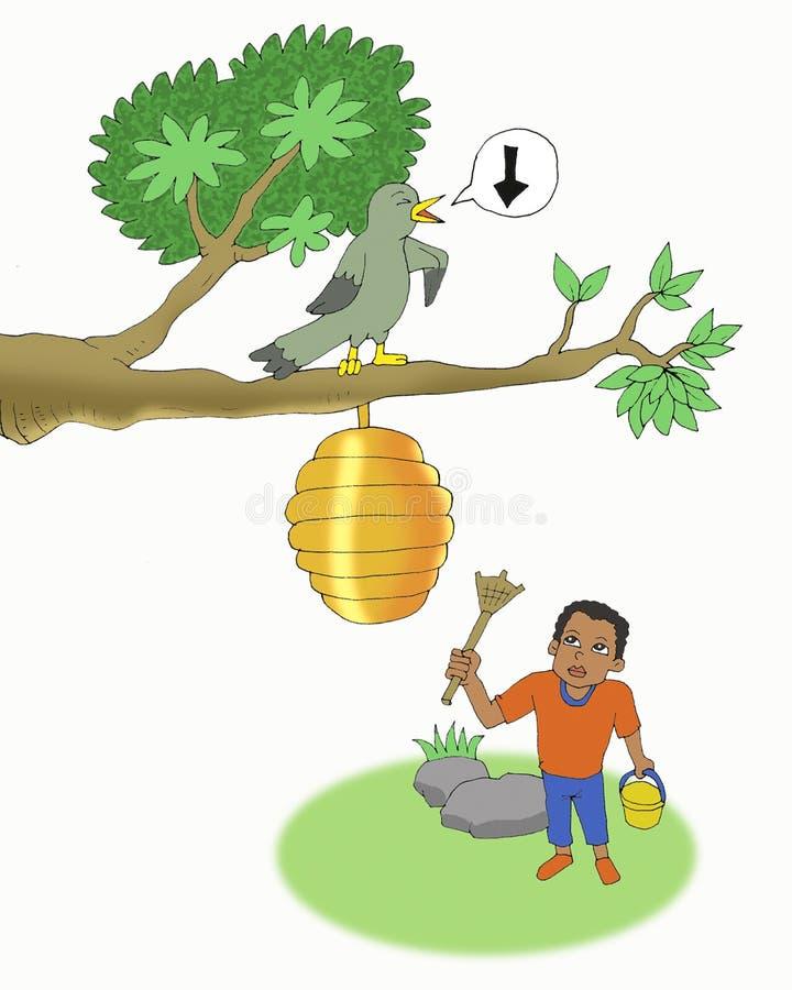 Pássaro do mel nos desenhos animados da árvore ilustração royalty free
