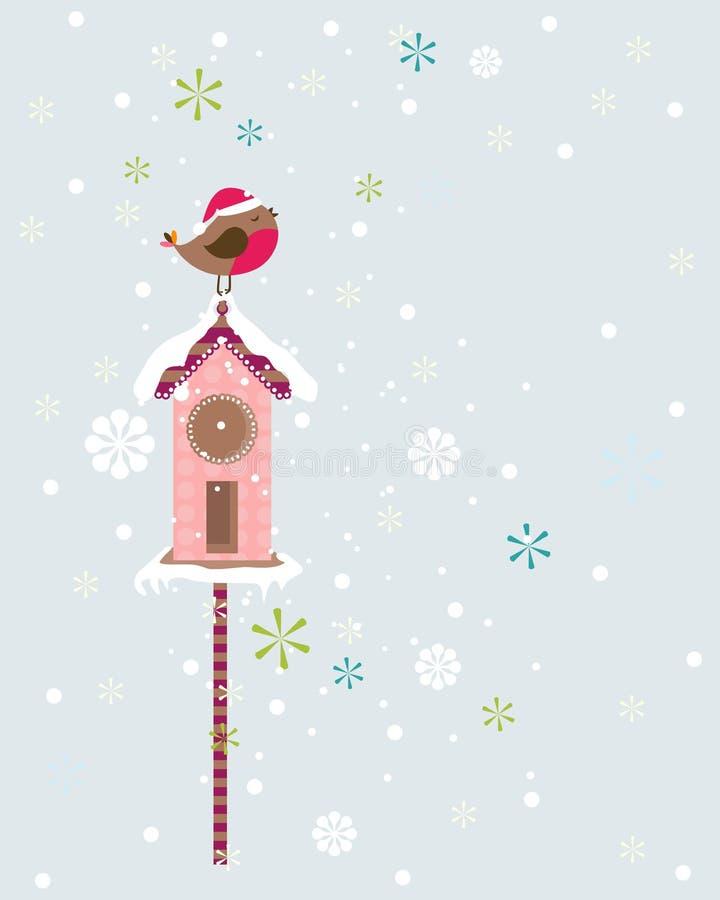 Pássaro do Natal do pisco de peito vermelho ilustração stock