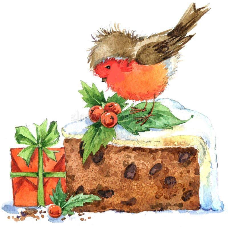 Pássaro do Natal e fundo do Natal Ilustração da aguarela ilustração do vetor