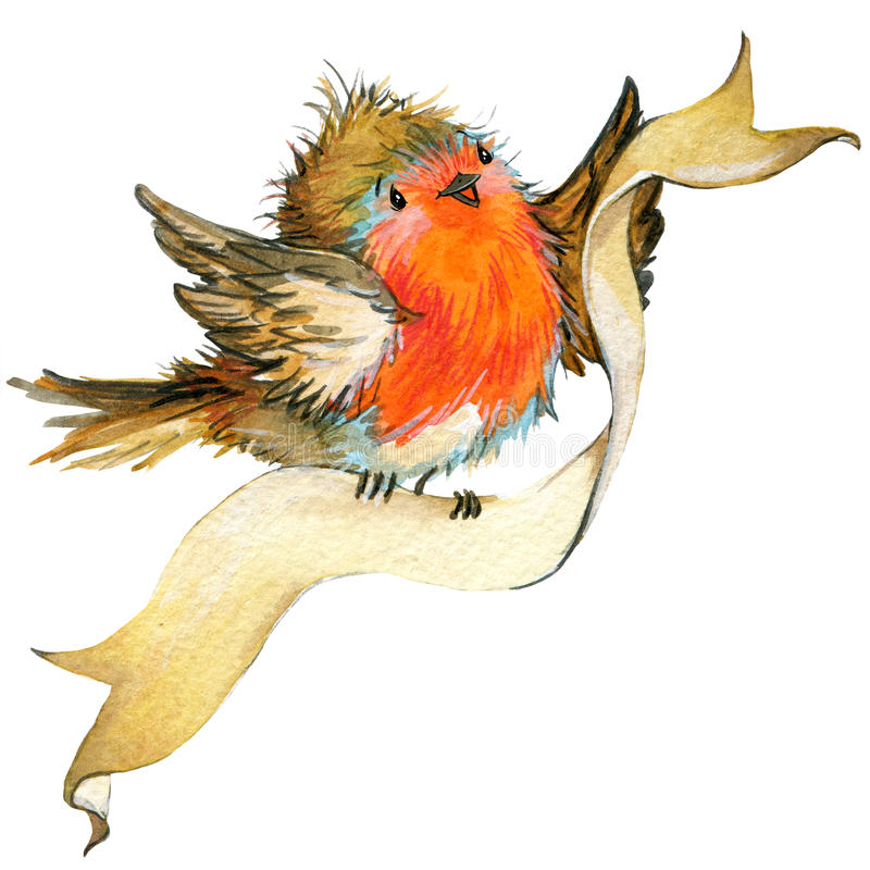 Pássaro do Natal e fundo do Natal Ilustração da aguarela ilustração royalty free