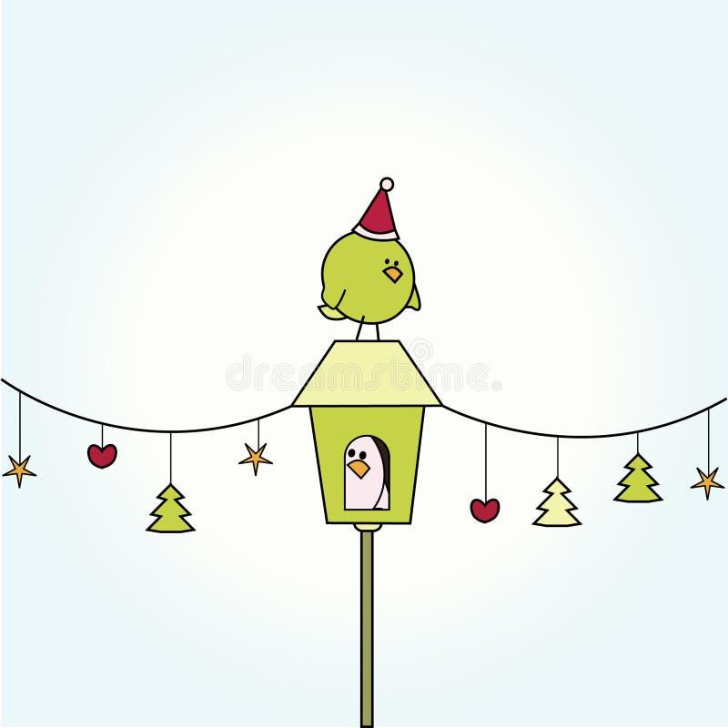 Pássaro do Natal na casa do pássaro ilustração royalty free