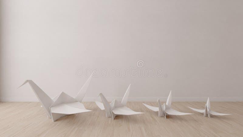 Pássaro do origâmi na sala vazia ilustração stock