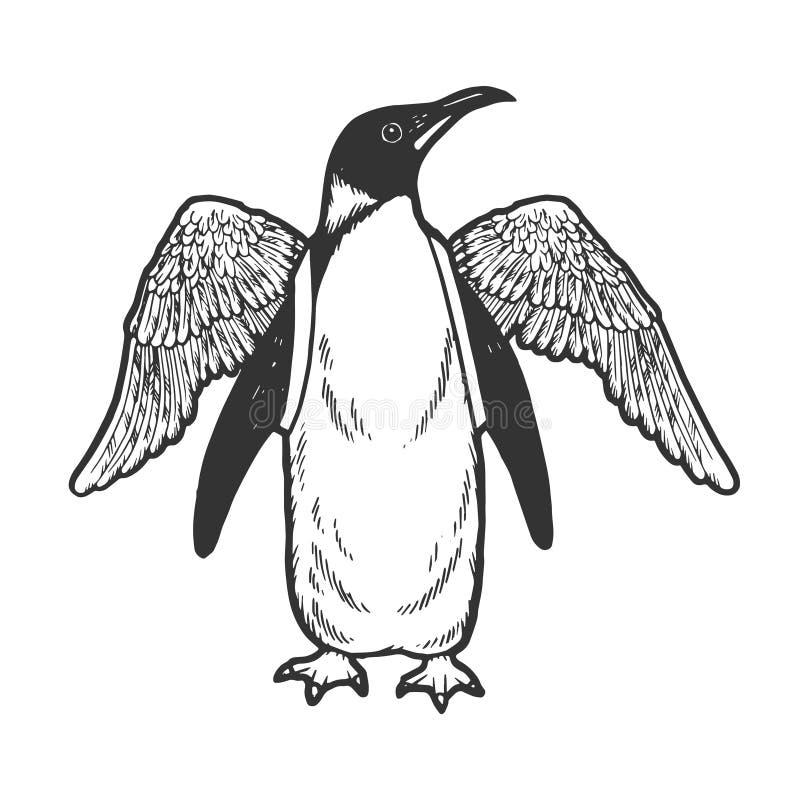 Pássaro do pinguim com vetor falso do esboço das asas ilustração royalty free