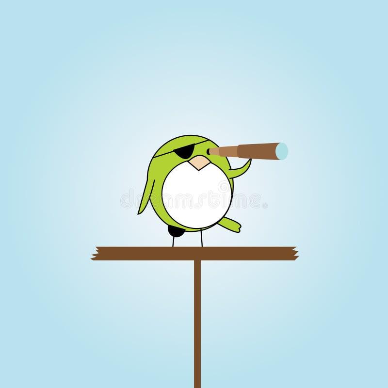 Pássaro do pirata dos desenhos animados na plataforma ilustração royalty free