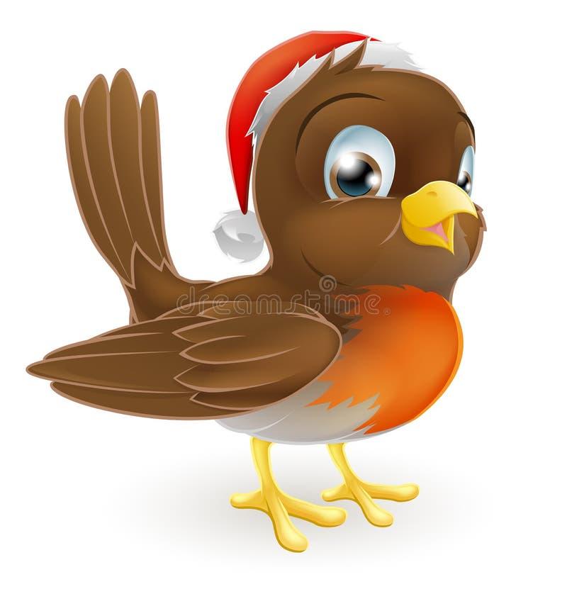 Pássaro do pisco de peito vermelho em um chapéu de Santa ilustração stock