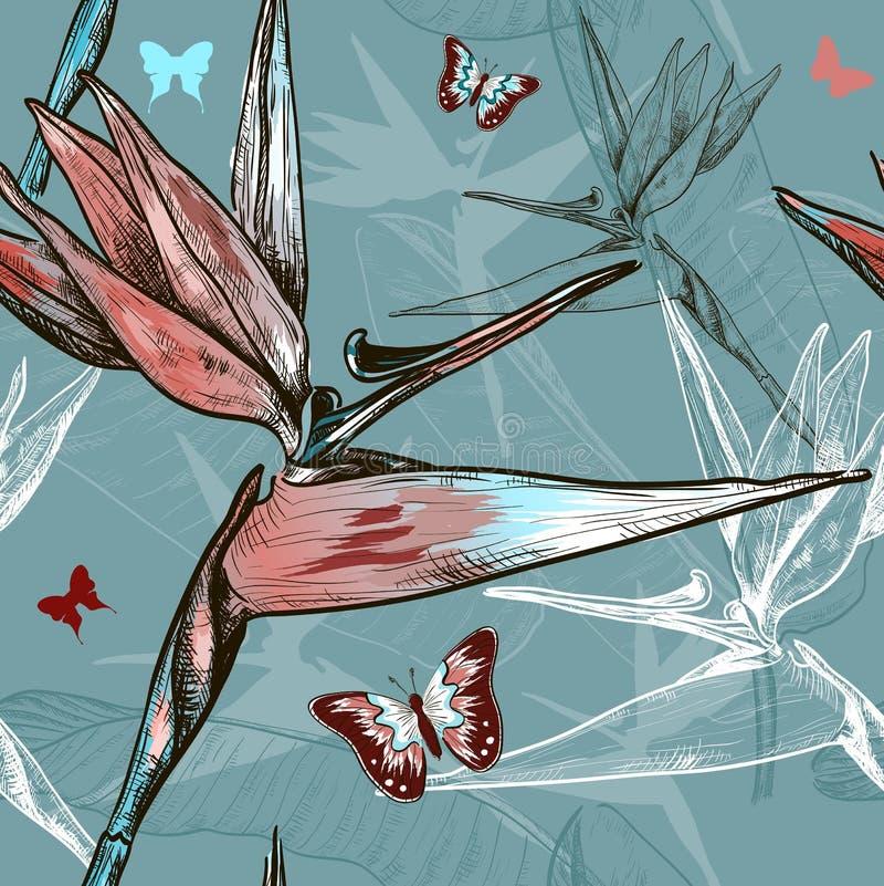 Pássaro do teste padrão sem emenda das flores de paraíso ilustração do vetor
