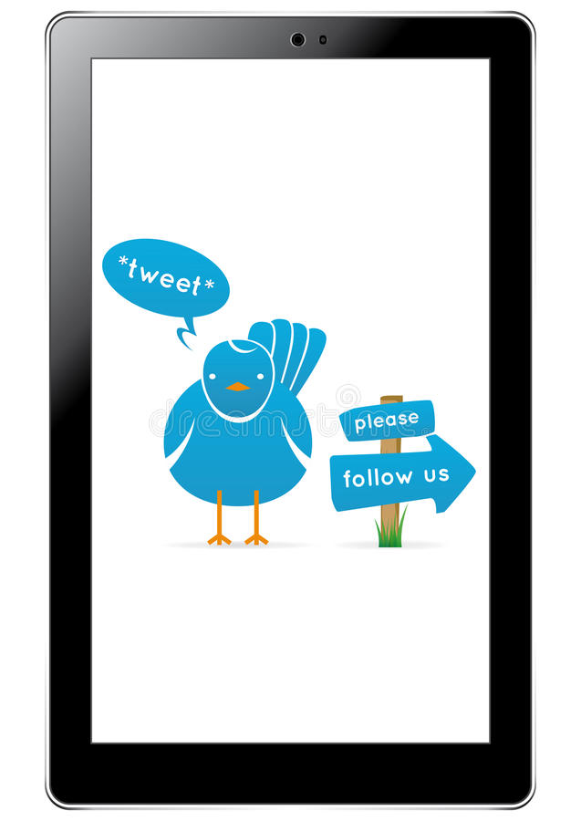Pássaro do Twitter na tabuleta ilustração do vetor