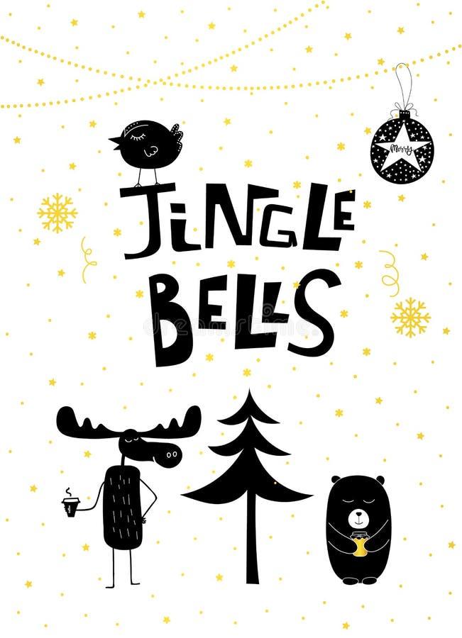 Pássaro dos alces do urso de Jingle Bells do ouro do cartão de Natal ilustração royalty free