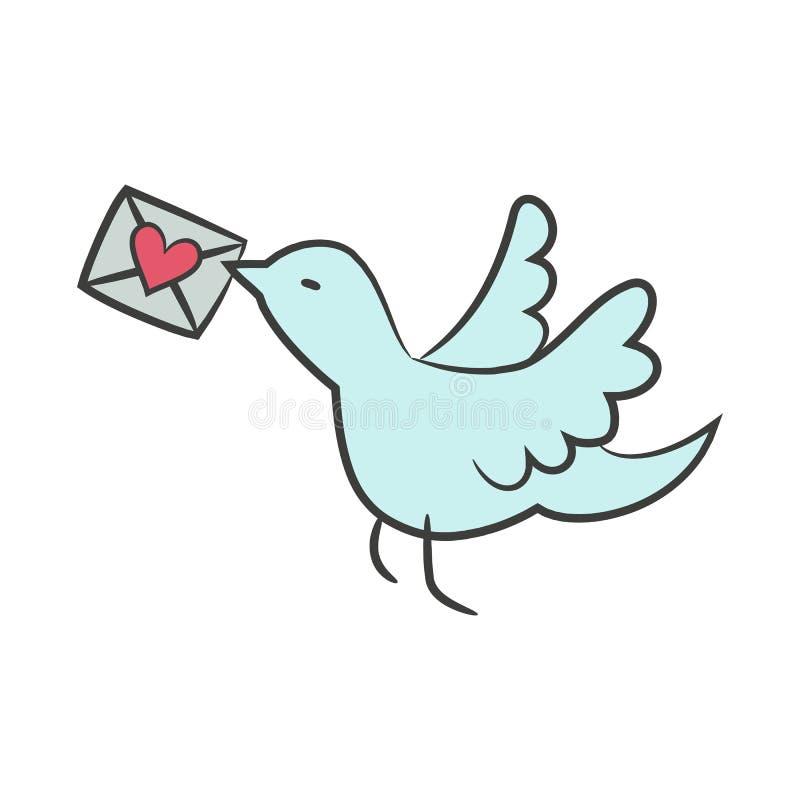 Pássaro dos desenhos animados com carta de amor no fundo branco para seu d ilustração do vetor