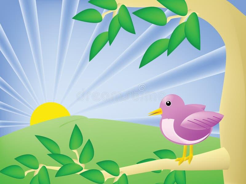 Pássaro dos desenhos animados em uma árvore ilustração royalty free