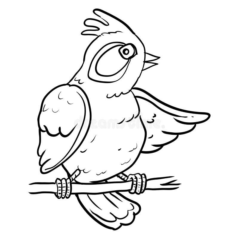 Pássaro dos desenhos animados na árvore do ramo - Vector a ilustração ilustração stock