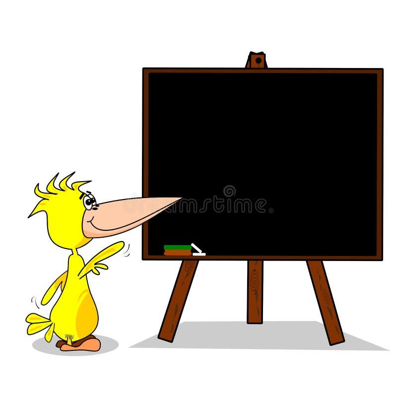 Pássaro dos desenhos animados no quadro-negro ilustração do vetor