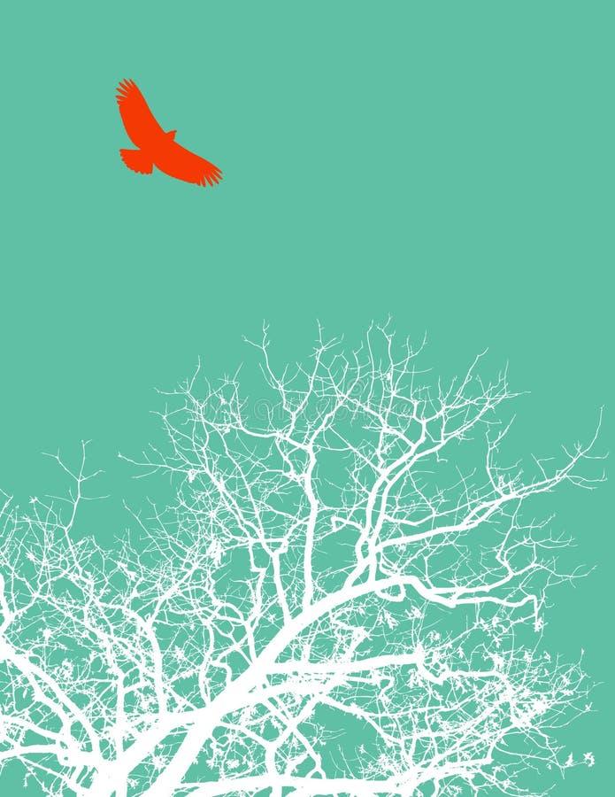 Pássaro e árvore ilustração stock