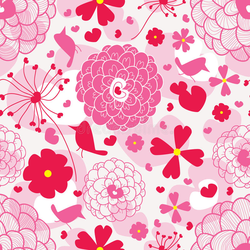 Pássaro e amor Pattern_eps ilustração stock