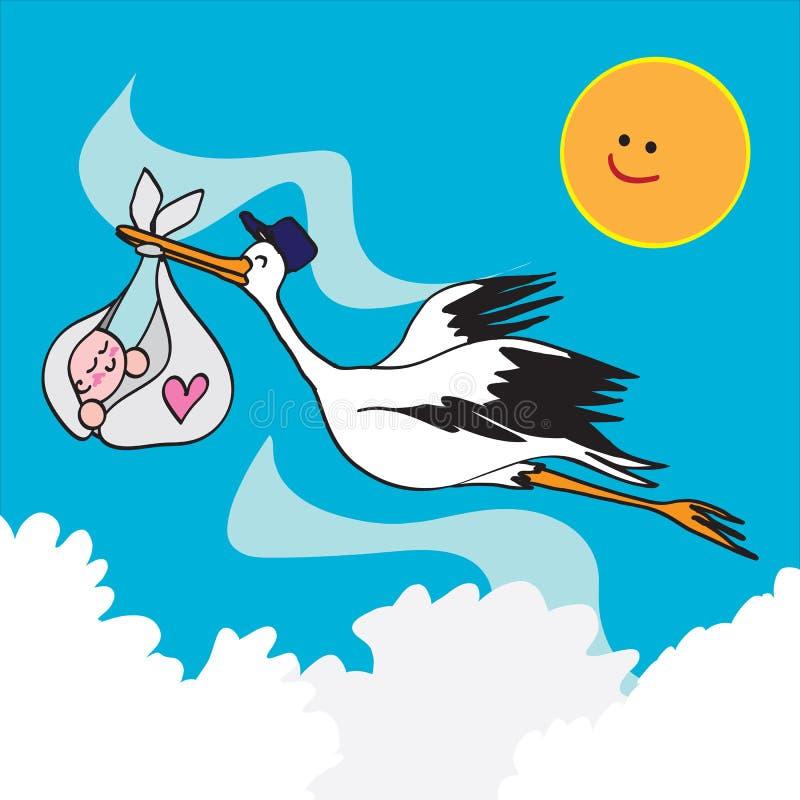 Pássaro e bebê da cegonha ilustração do vetor