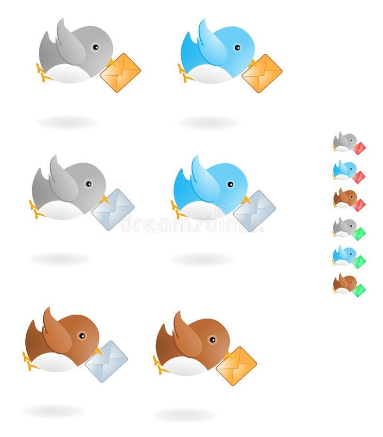 Pássaro e correio ilustração royalty free