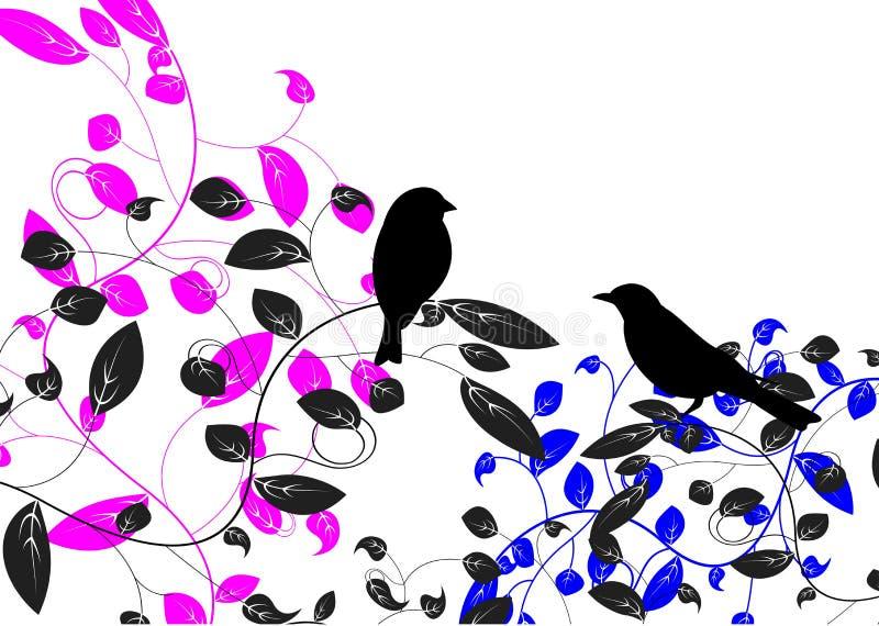Pássaro e folha ilustração do vetor