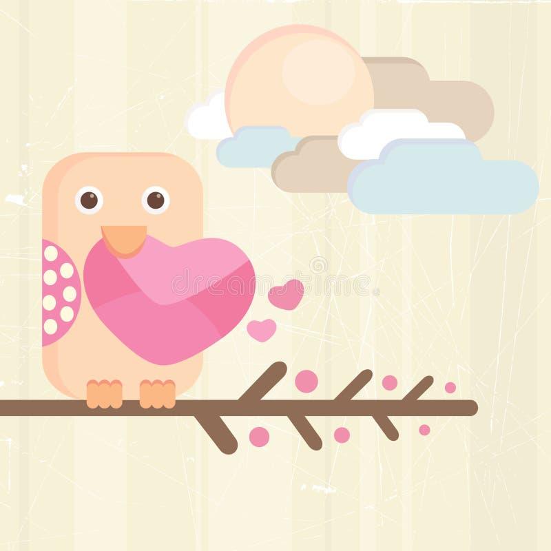 Pássaro e letra de amor ilustração royalty free