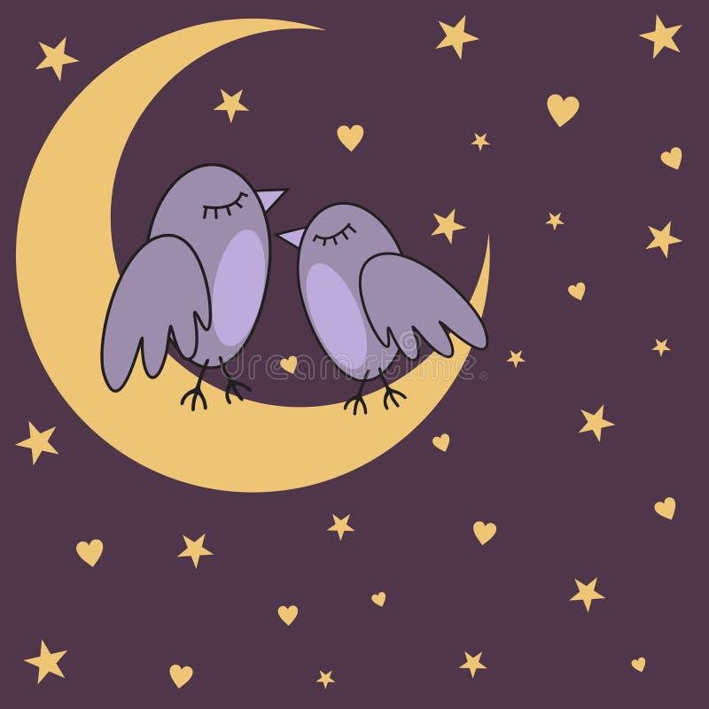Pássaro-em--noite ilustração royalty free