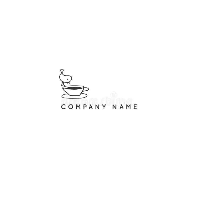 Pássaro em um copo do chá, molde do logotipo da cozinha Objeto tirado mão do vetor ilustração stock