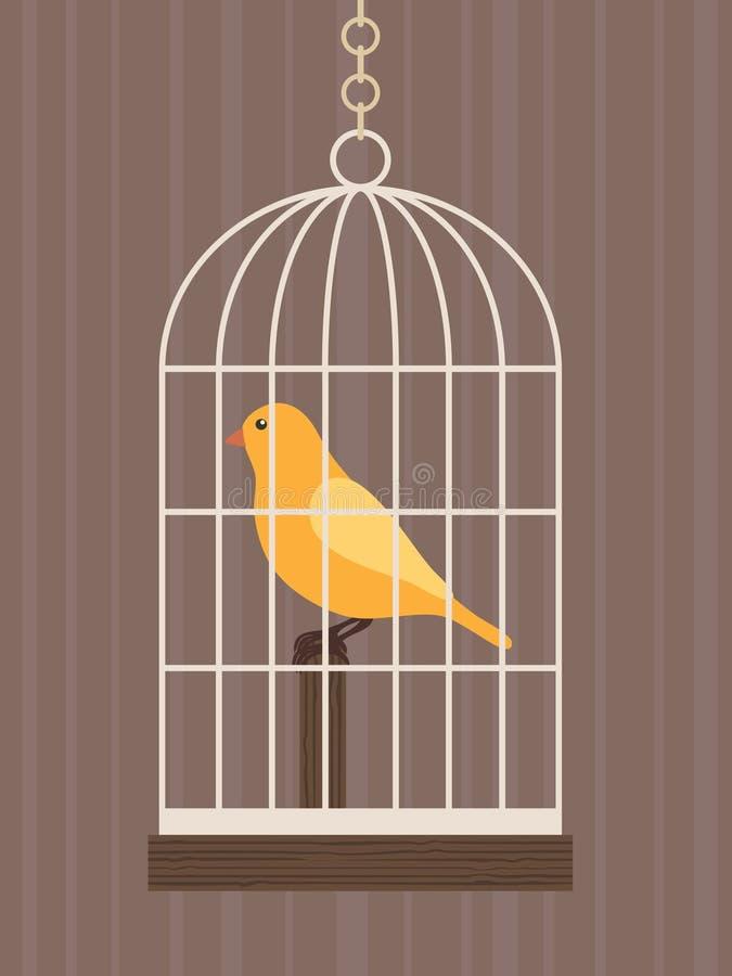 Pássaro em uma gaiola ilustração do vetor