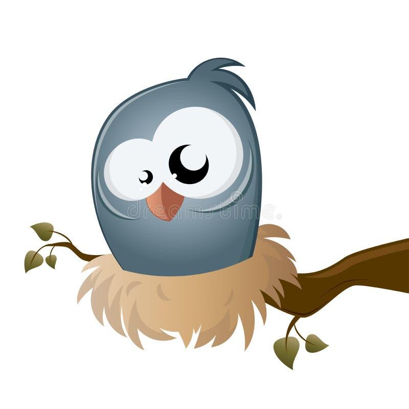 Pássaro engraçado dos desenhos animados que senta-se em um ninho ilustração do vetor