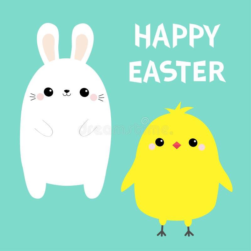 Pássaro feliz da galinha da Páscoa, grupo do coelho Cara principal do pintainho branco do beb? do coelho Forma do ovo Car?ter eng ilustração stock