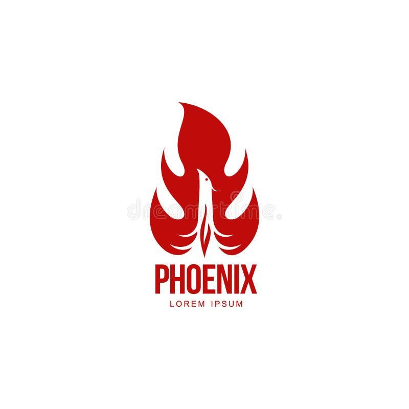 Pássaro gráfico estilizado de phoenix que ressuscita no molde do logotipo da chama ilustração do vetor